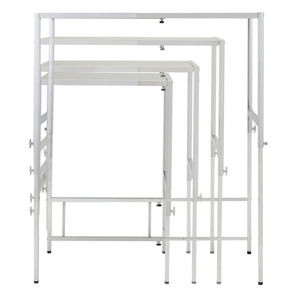 幅と高さが伸縮できるステンレス作業台 幅46~75cm 奥行45cm