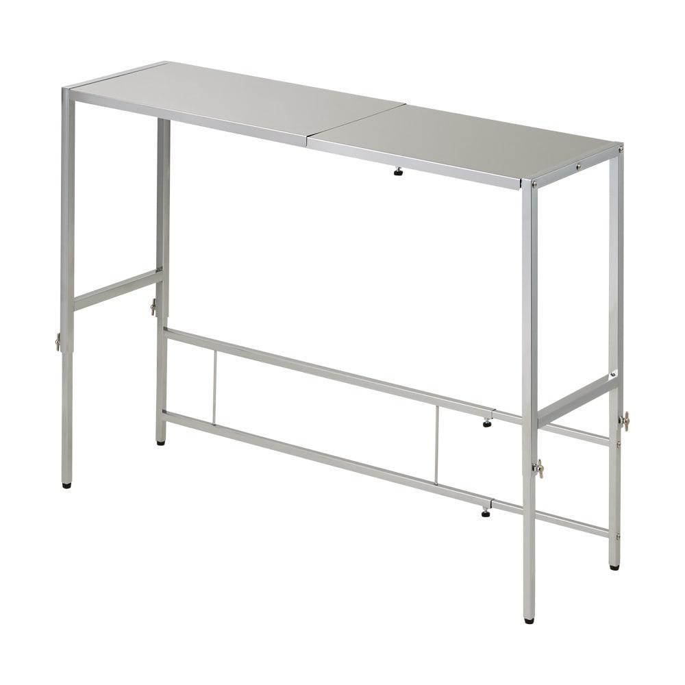 家具 収納 キッチン収納 食器棚 キッチン隙間収納 幅と高さが伸縮できるステンレス作業台 幅76~120cm 奥行30cm 550919
