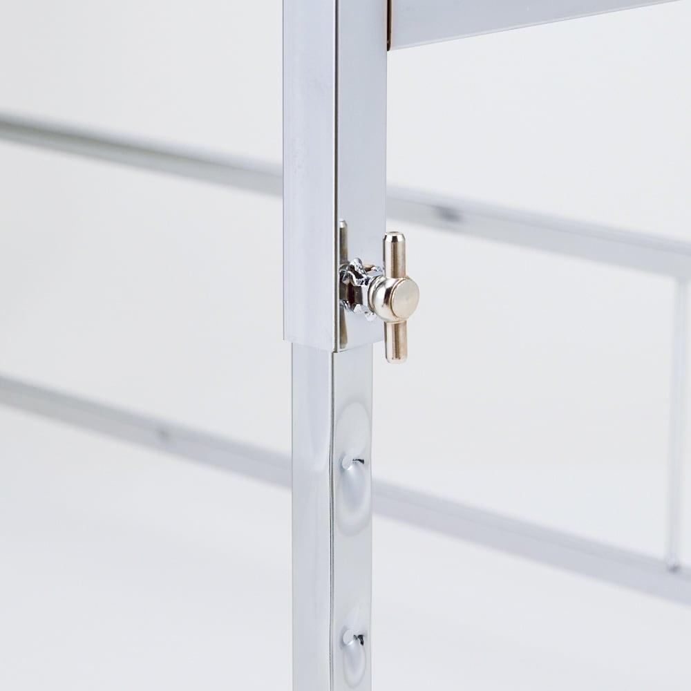 幅と高さが伸縮できるステンレス作業台 幅76~120cm 奥行30cm 【高さぴったり】天板の高さは5cm間隔で6段階に調節できます。