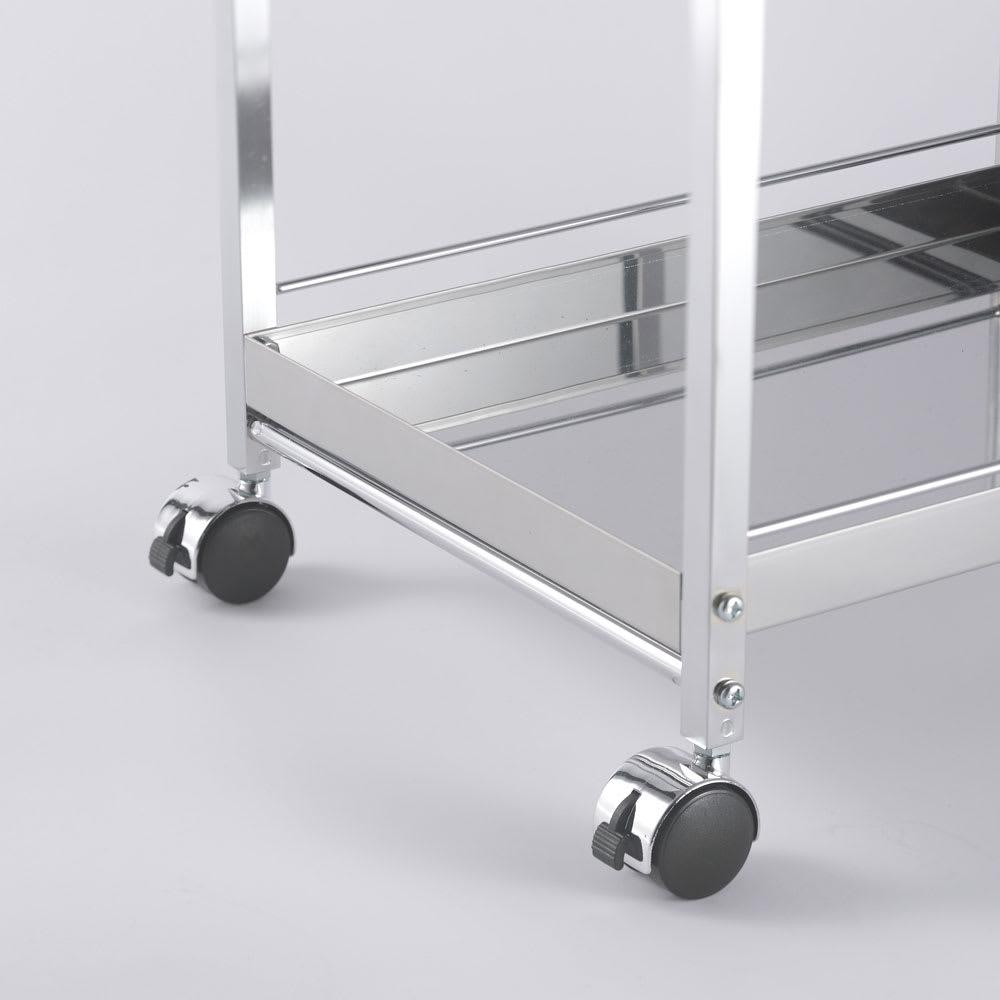 作業台下を有効活用 引き出し付きステンレスワゴン ダストワゴン 幅25cm キャスター4個のうち、2個はストッパー付き。作業中は動かないように固定できます。