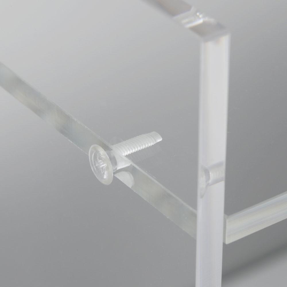 アクリル製キッチンカウンターラック 幅42cm ネジまで透明素材を使用し、クリアな見映えを徹底しました。