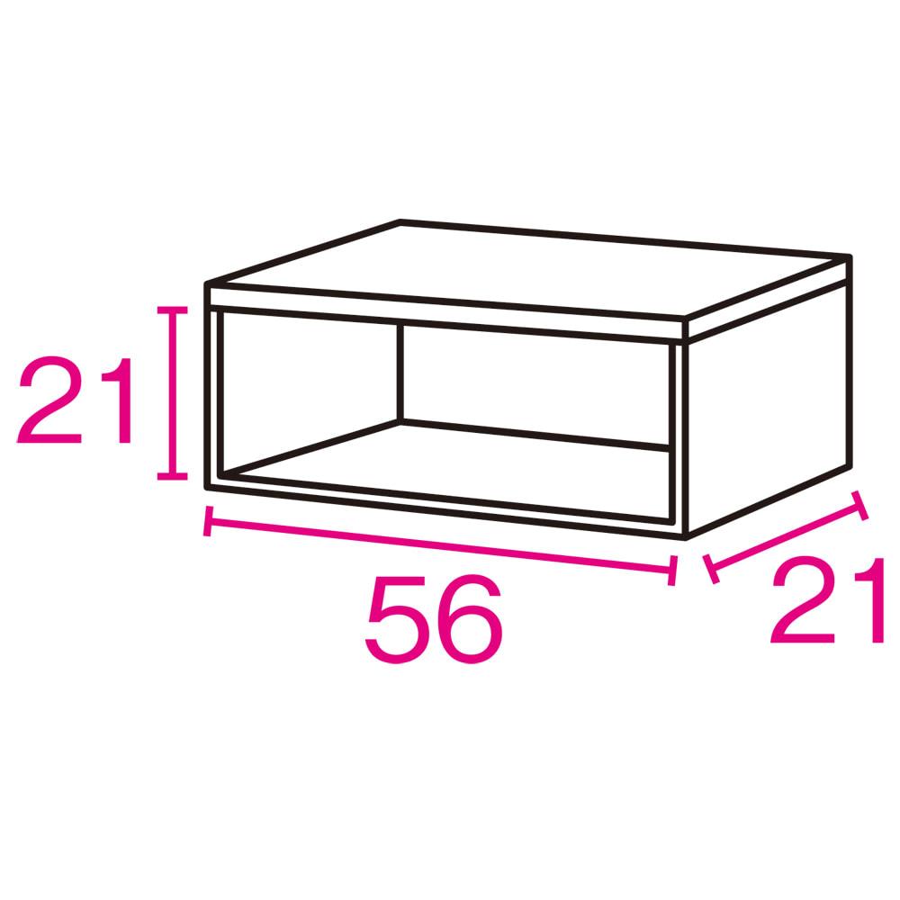 《幅60cm》光沢仕上げ 水ハネ対応引き戸カウンター上収納庫(幅60cm・標準タイプ) 内寸図(単位:cm)