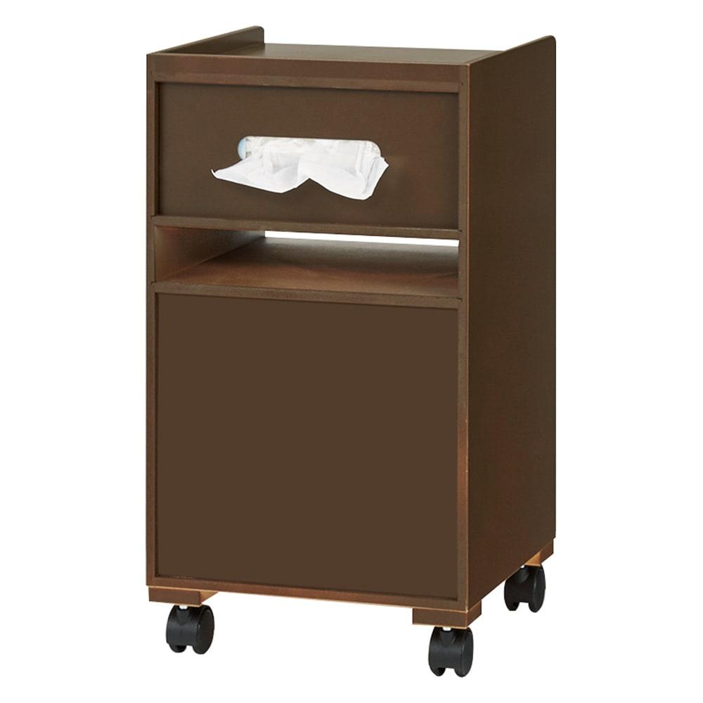 ダイニングまわり快適ワゴン 小タイプ 幅30cm (ウ)ダークブラウン(裏面) ティッシュボックスが入ります。また、背面も美しく化粧が施されております。