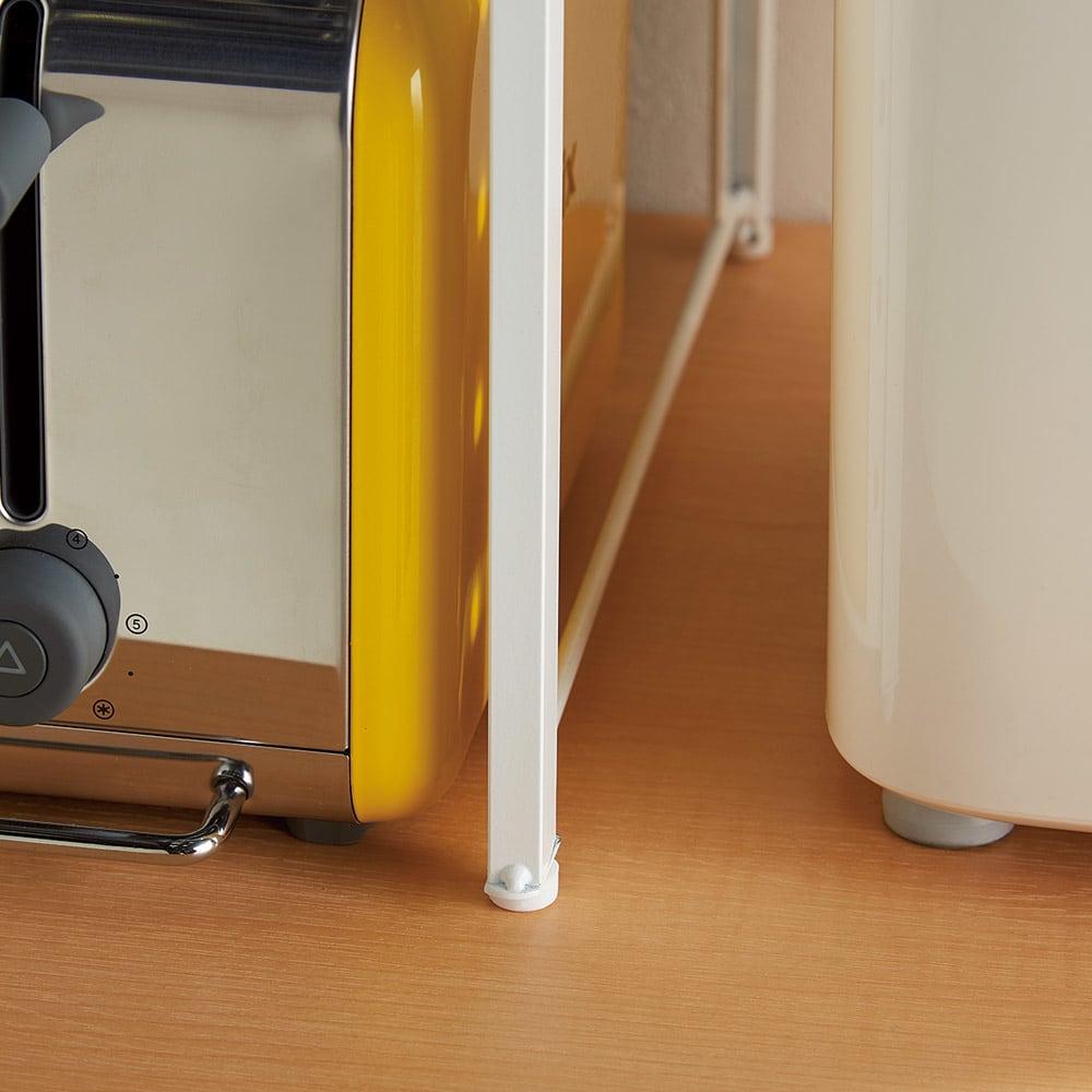 頑丈!カウンター上省スペース 脚部幅1cmキッチン収納ラック 棚2段タイプ 脚部幅1cmで狭い所にもピタッ。