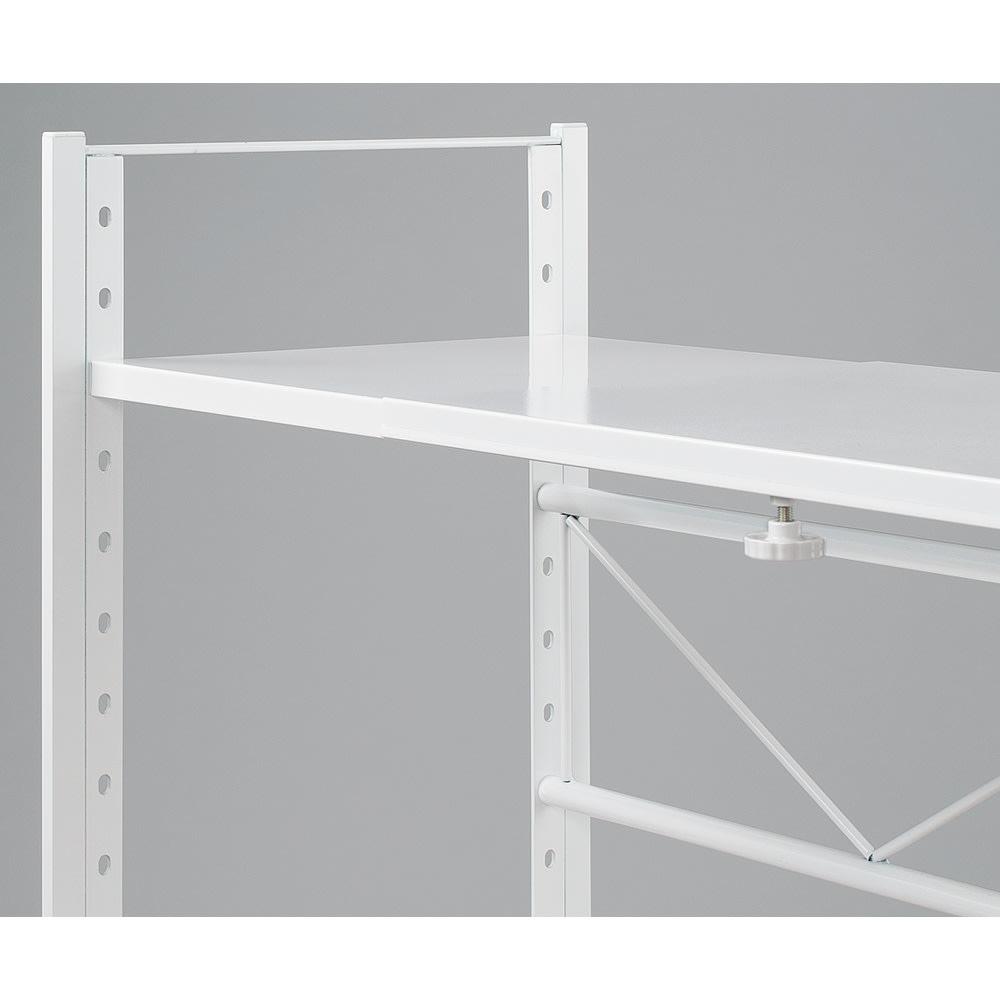 頑丈!カウンター上省スペース 脚部幅1cmキッチン収納ラック 棚2段タイプ 棚板は4cmピッチで調整可能。