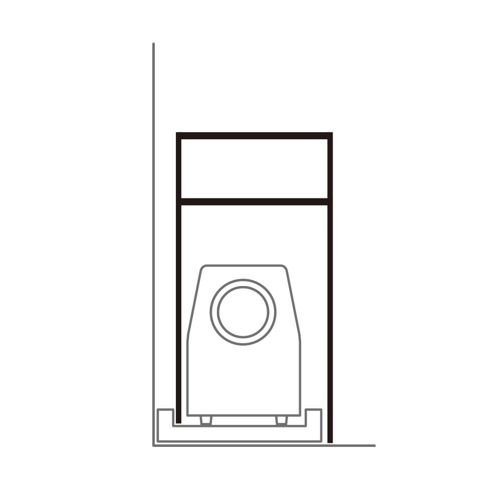 天井が低くても置けるカフェスタイルランドリーラック 棚1段バスケット2個 高さ167~217cm 壁付けの防水パンでも、脚の高さを左右で変えて設置することができます。