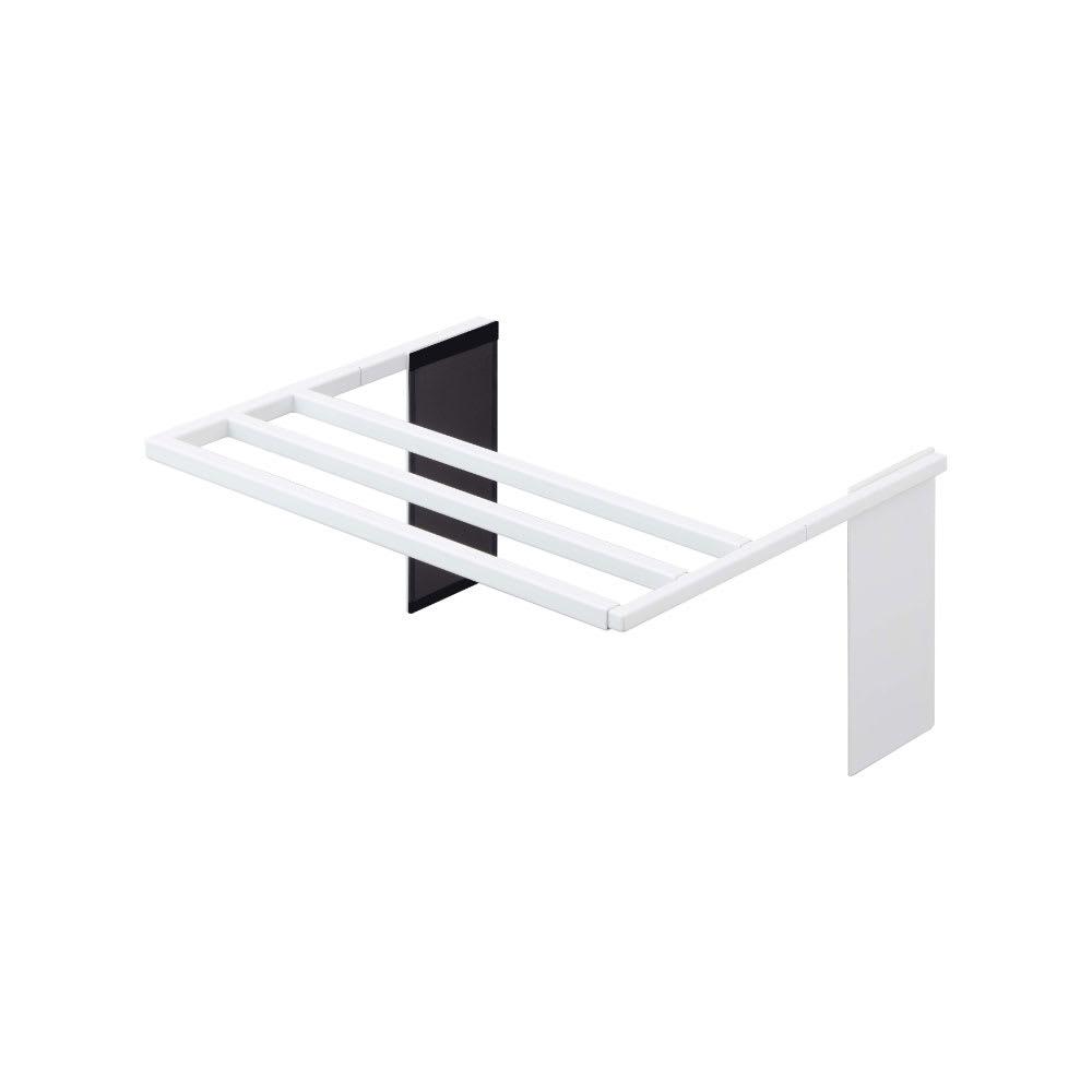 伸縮式バスタオルハンガー (ア)ホワイト 幅最小時(約39cm)