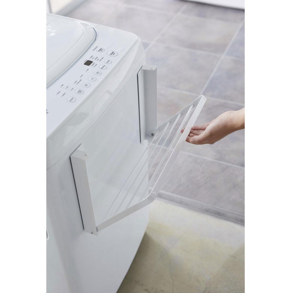 洗濯機マグネット折り畳み棚 (ア)ホワイト 使わない時は畳んでスリムに。