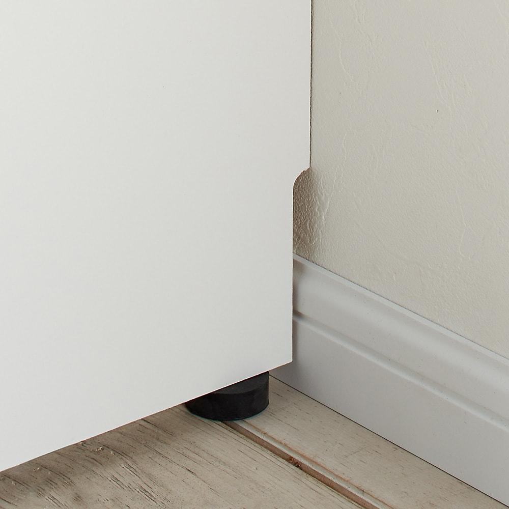 美しい光沢扉ですっきり隠せるランドリーラック 突っ張り&バスケット 幅木よけカット(1×9cm)