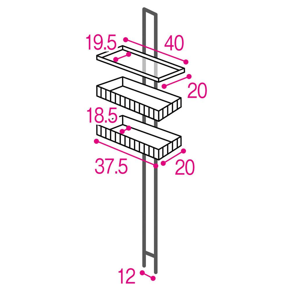 1本脚で見た目すっきり!スマートライフラック トレー棚1・カゴ2個 詳細図(単位:cm) 収納部はそれぞれ10cm間隔で高さが変えられます。