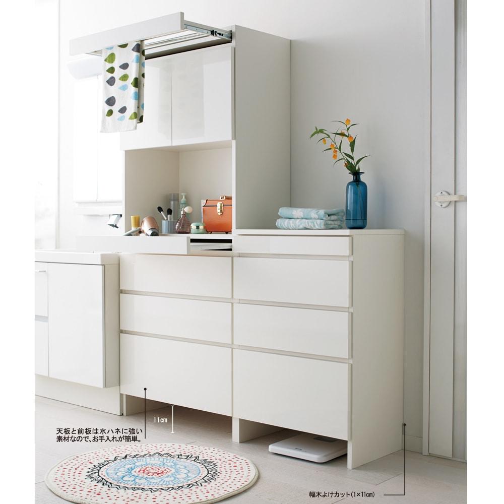 家事がしやすい サポート引き出しサニタリーチェスト ロータイプ 幅40.5cm 見た目もシンプルで清潔感のあるローチェストです。※写真は(左)幅75.5cm・ハイタイプ、(右)幅60.5cm・ロータイプです。