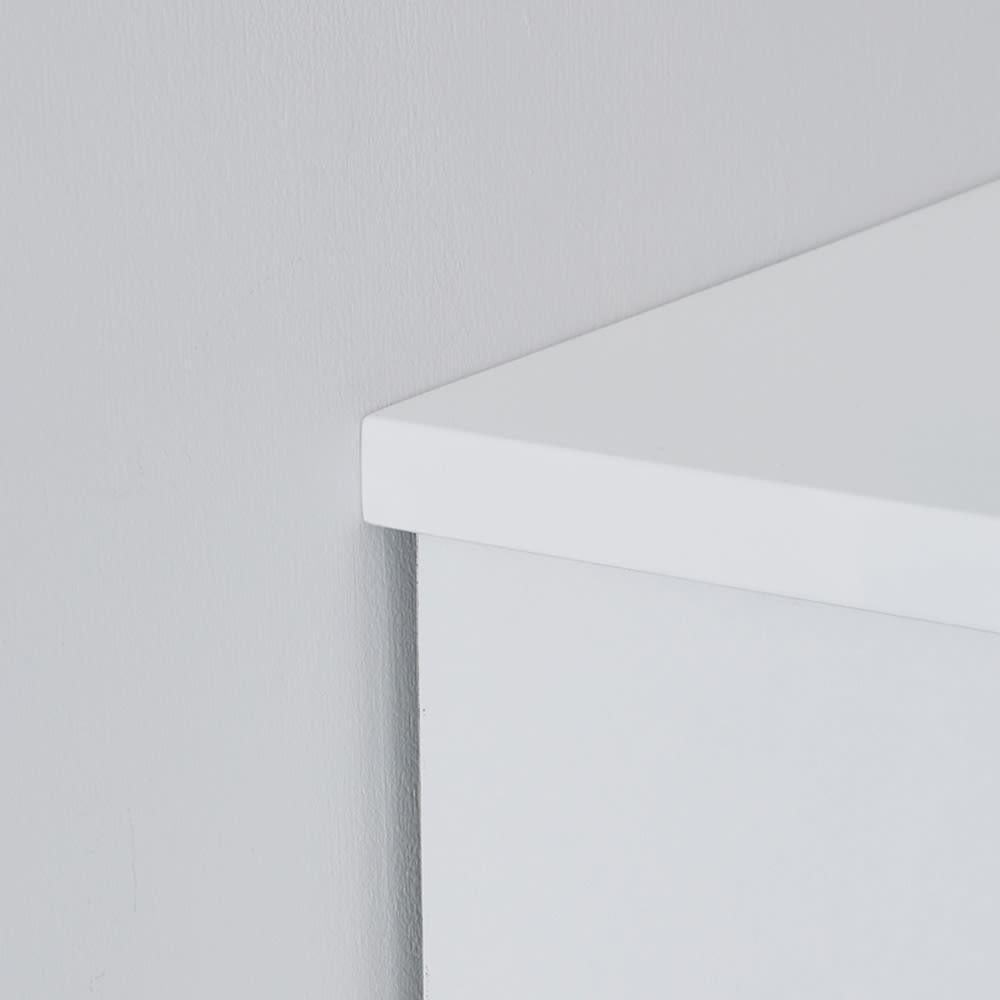 光沢仕上げ・内部化粧チェスト 幅75・奥行30cm 天板を少し長めにし、壁にぴったり設置可能。