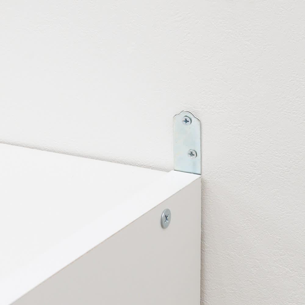 水回りでも安心の光沢洗面所チェスト 扉付きハイタイプ・幅44.5cm 安心の転倒防止金具付きです。
