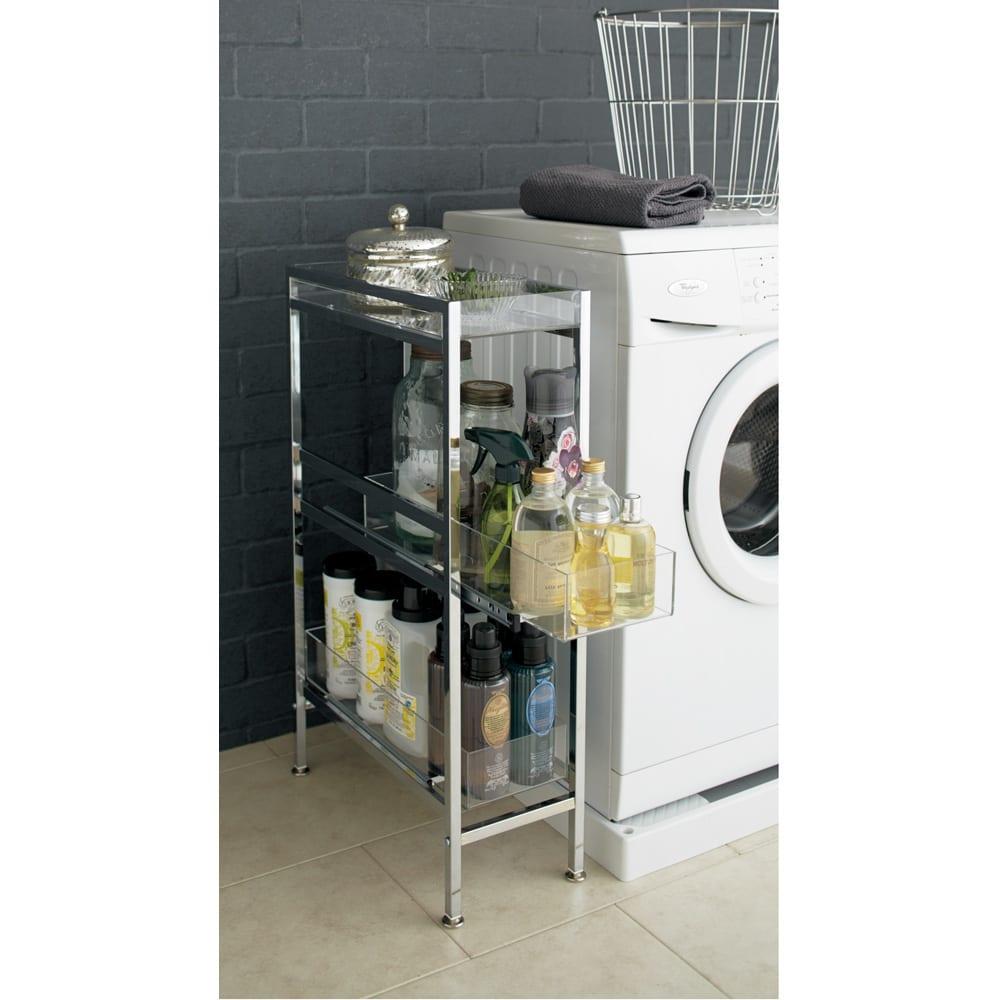 スタイリッシュサイドラック 幅17.5cm 洗剤のボトルや洗濯用品のチョイ置きにも便利。※写真は幅22.5cmタイプです。