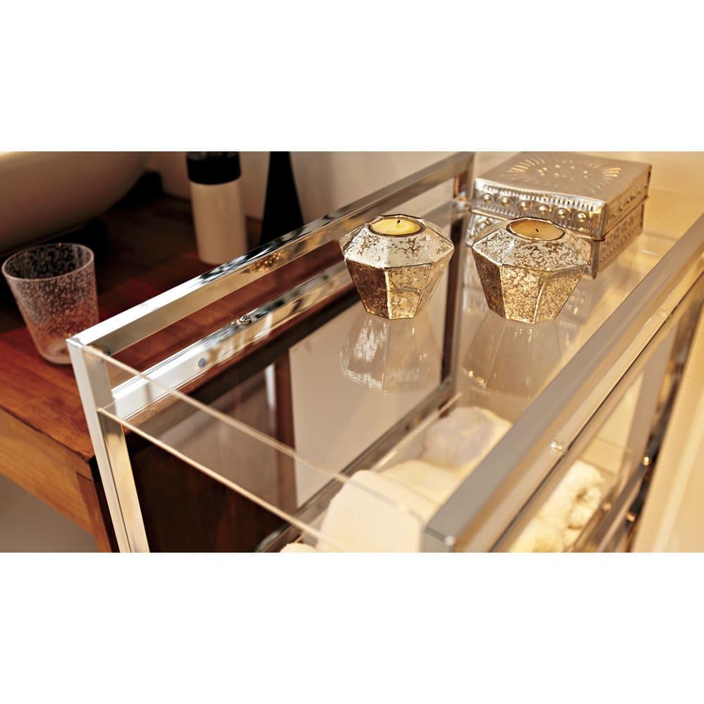 スタイリッシュサイドラック 幅22.5cm クリアのトレーで、洗面所を洗練された清潔空間に。。※写真は幅27.5cmタイプです。