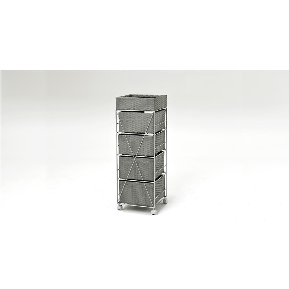 ラタン調ランドリーチェスト キャスター付きタイプ 幅41cm高さ109.5cm (ウ)グレー 裏面