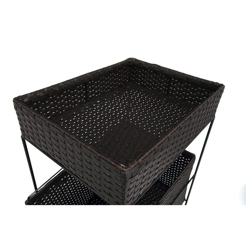 ラタン調サニタリーバスケットワゴン 幅28cm (イ)ダークブラウン
