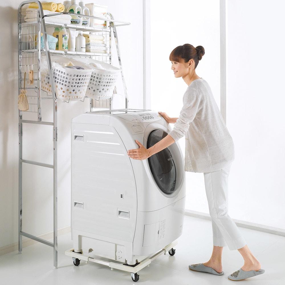 耐荷重約150kg ステンレス洗濯機置き台【洗濯機設置台】 軽々移動でき、気持ちよく掃除ができます。