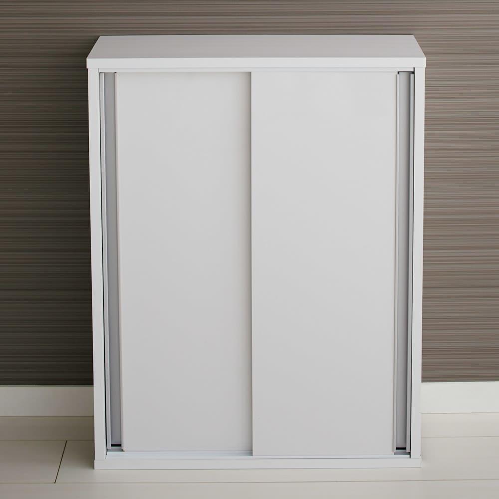 トイレ収納庫 引き戸タイプ 幅60cm・5段 (ア)ホワイト クローズ時