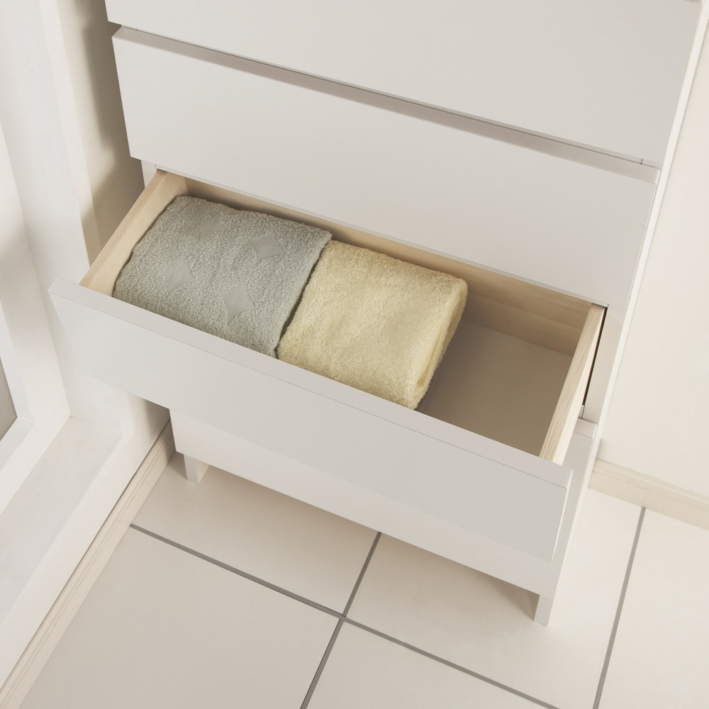 組立不要 天井まで使える薄型サニタリーチェスト 奥行23.5cm・幅60cm 引き出しの内寸奥行は18cmです。タオルや衣類が収納できます。