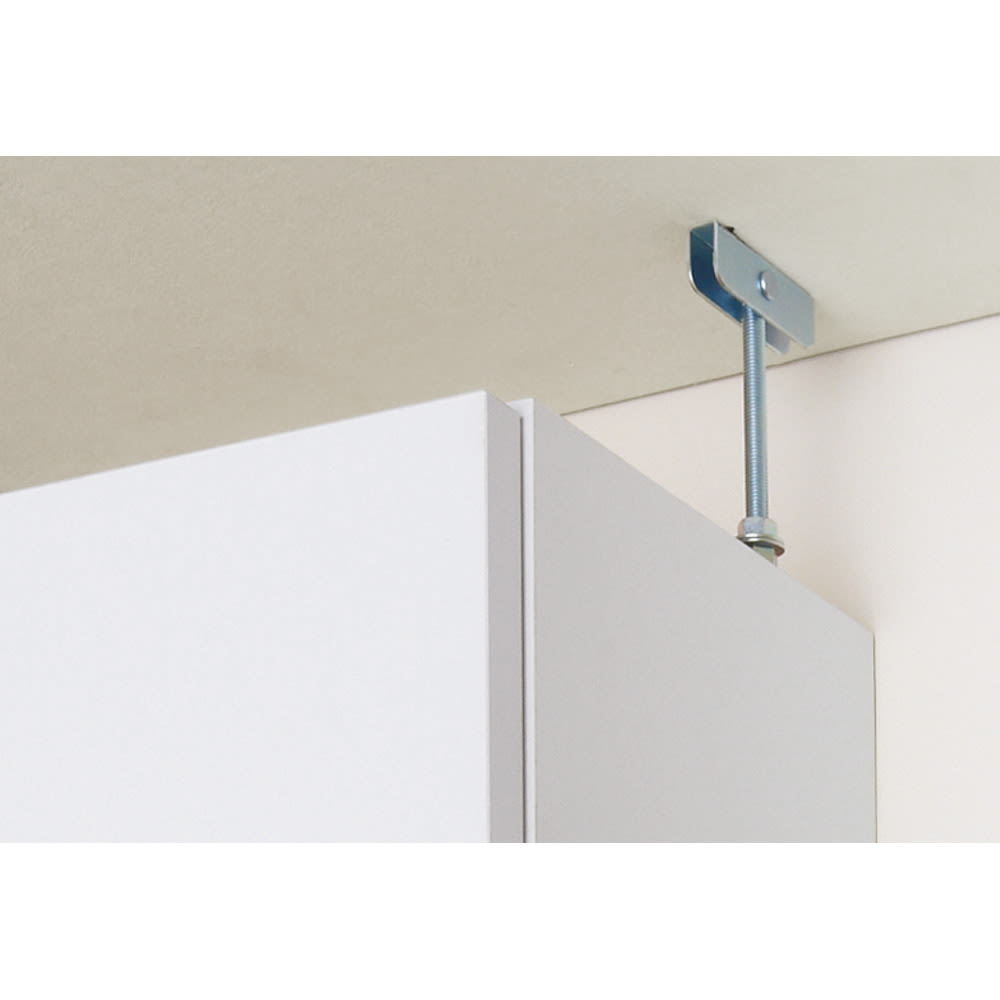 組立不要 天井まで使える薄型サニタリーチェスト 奥行23.5cmタイプ 幅60cm用「上置き(小)・高さ20cm」 天井突っ張りでしっかり安定。
