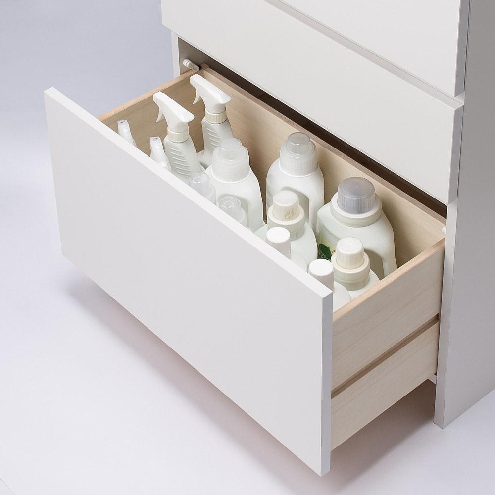 組立不要 天井まで使える薄型サニタリーチェスト 奥行31.5cmタイプ・幅60cm 引き出し最下段は洗濯用の背の高いボトル洗剤も収納できます。