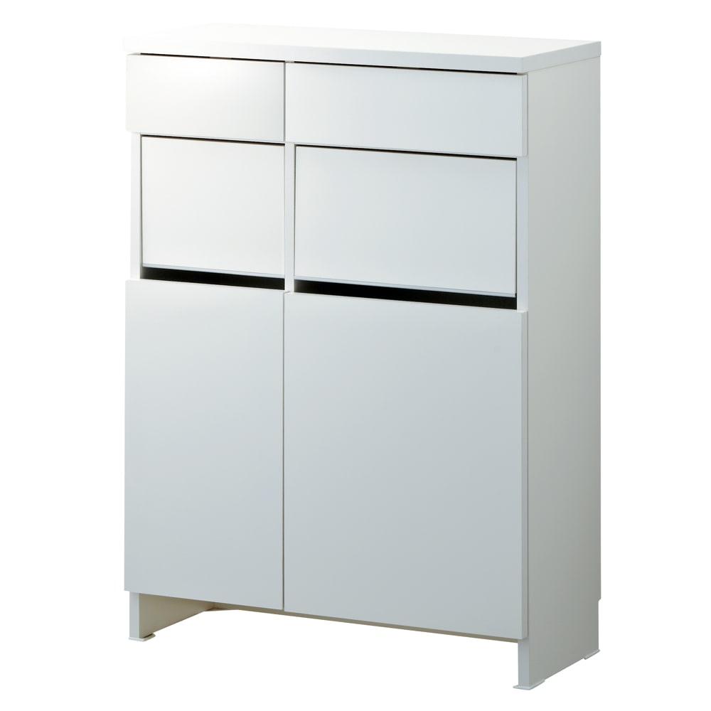組立不要 洗濯カゴ付き2in1光沢サニタリー収納庫 ロータイプ 幅73cm こちらの商品は【幅73cm・高さ99.5cmのロータイプ】です。