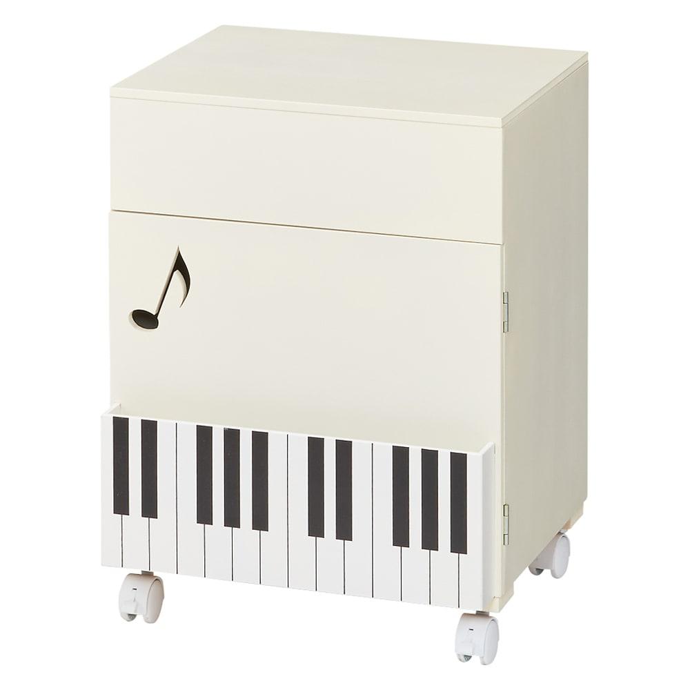 鍵盤柄 ピアノの下にぴったり楽譜キャビネット (イ)ホワイト