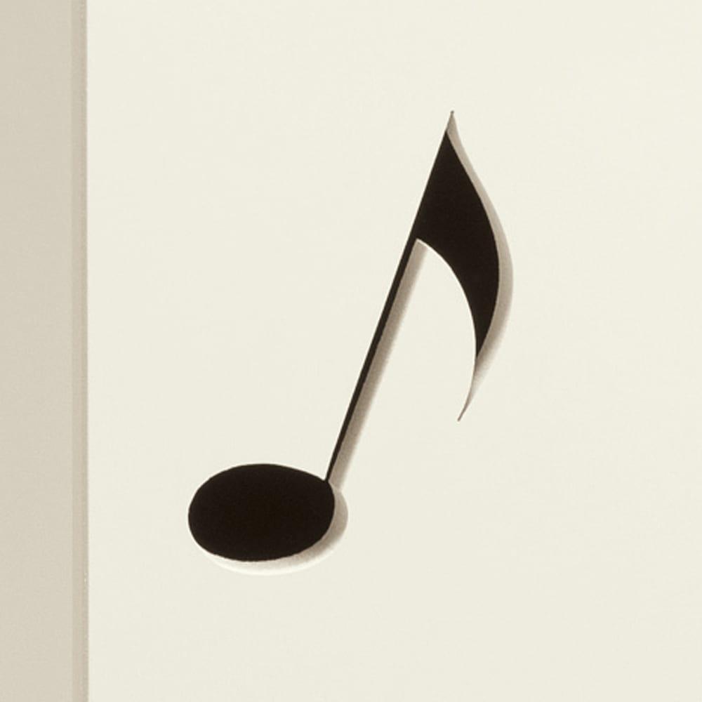 鍵盤柄 ピアノの下にぴったり楽譜キャビネット キュートな音符の型抜きがアクセント。(イ)ホワイト