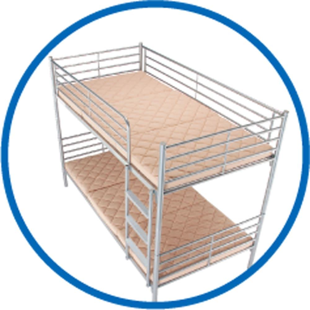 3サイズから選べる!二段ベッド用洗えるカバーの三つ折りマットレス 低反発タイプ 2段ベッドにおすすめです。 ※使用イメージ