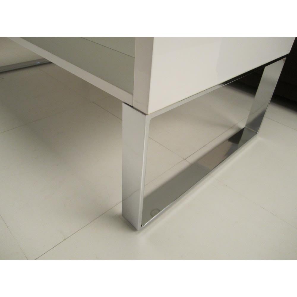 収納もたっぷり!腰かけながら使えるリフティングテーブル幅90 スタイリッシュなスチール脚部高さは28cm