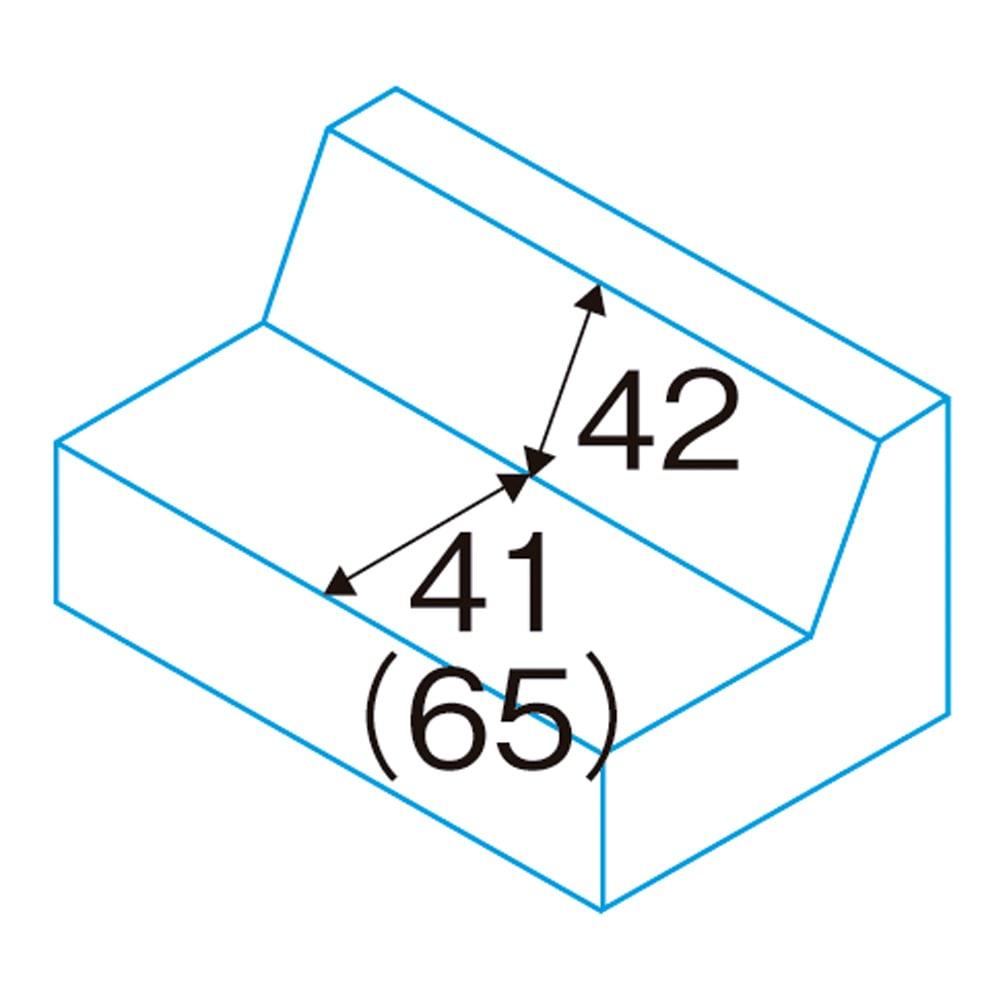 シンプルスタイルコーナーソファ お得な3点セット (2人掛けソファ) 座面奥行・背高さ(約・cm) ( )はクッション取り外し時