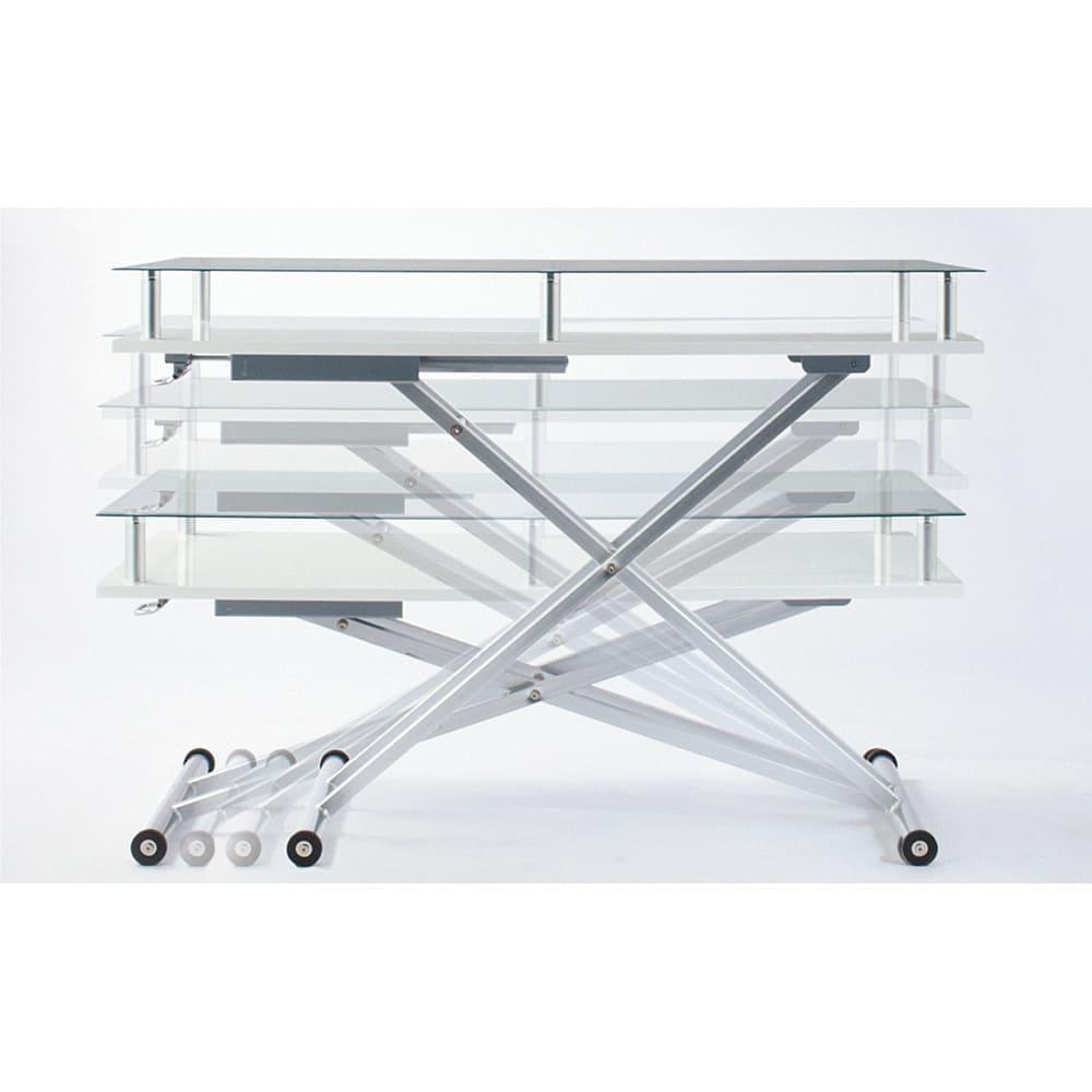 飛散防止フィルム貼りガラス 二重天板昇降式リフティングテーブル 幅102cm ~POINT~ 天板高さは46~80cmまで無段階調節。(※テーブル昇降の高さはガス圧により1cm程度の誤差が生じます。)