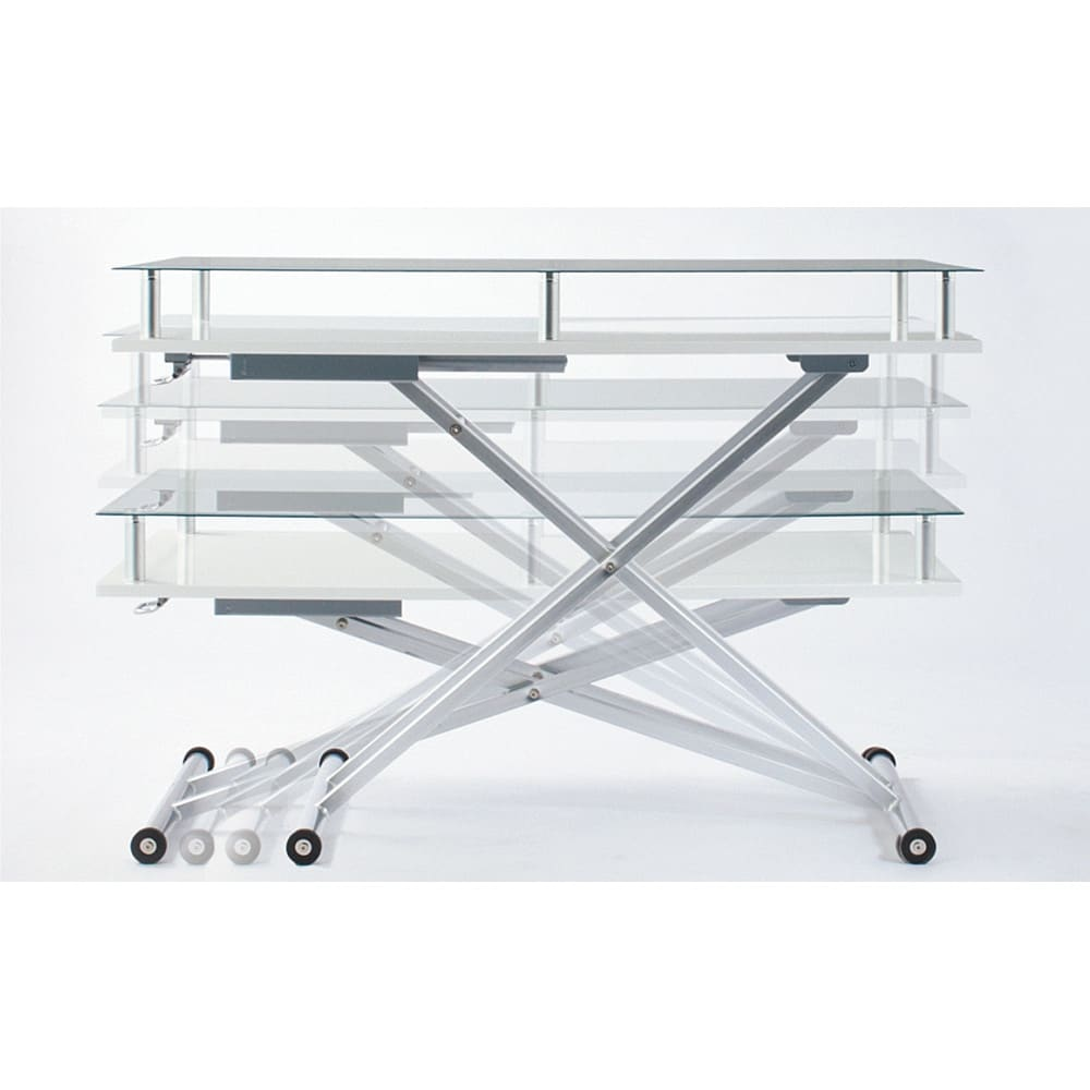 飛散防止フィルム貼りガラス 二重天板昇降式リフティングテーブル 幅120cm ~POINT~ 天板高さは48~84cmまで無段階調節。(※テーブル昇降の高さはガス圧により1cm程度の誤差が生じます。)