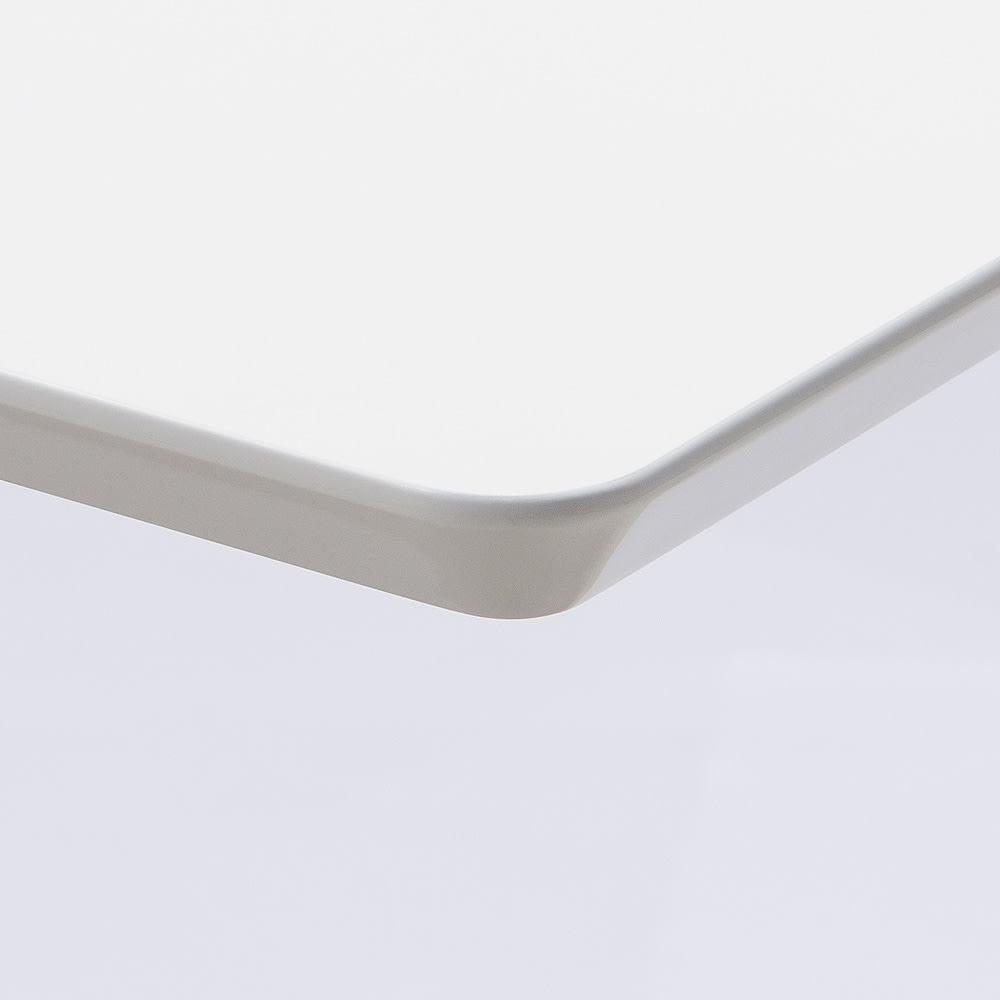 移動がしやすい!キャスター付き昇降式テーブル幅120 (ア)ホワイト 天板下、角部には少し丸くなっている優しい仕上げです。