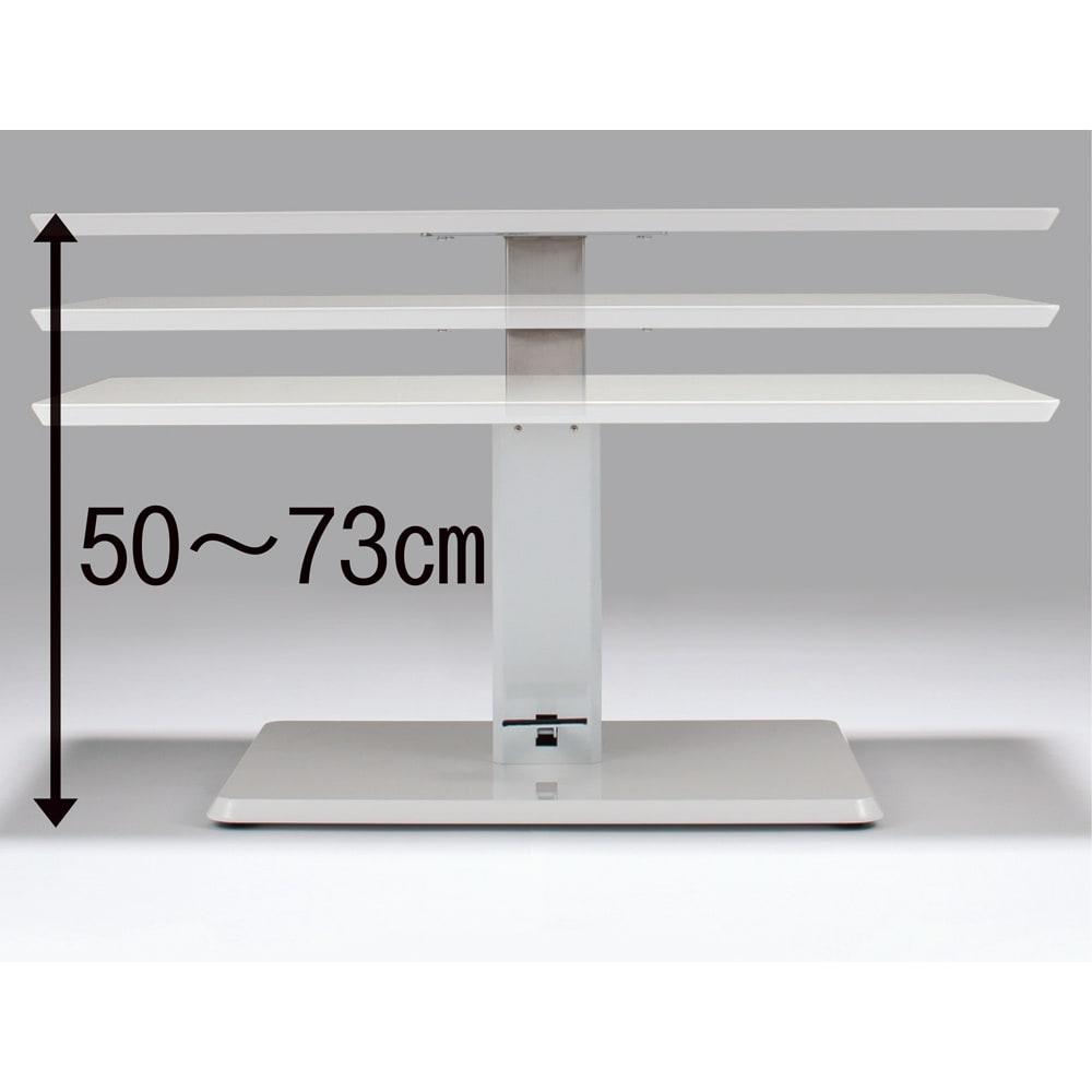 移動がしやすい!キャスター付き昇降式テーブル幅120 【ポイント】フットペダルを踏み、天板を上げ下げするだけで高さを無段階に調節が可能。
