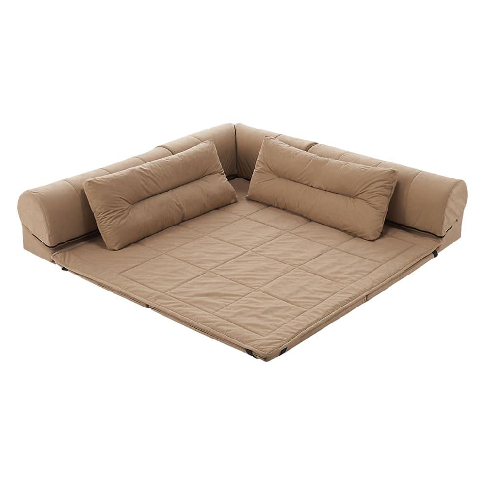 包まれるしあわせのクッション付きごろ寝ソファ 小(142×142cm) (ア)ナチュラル