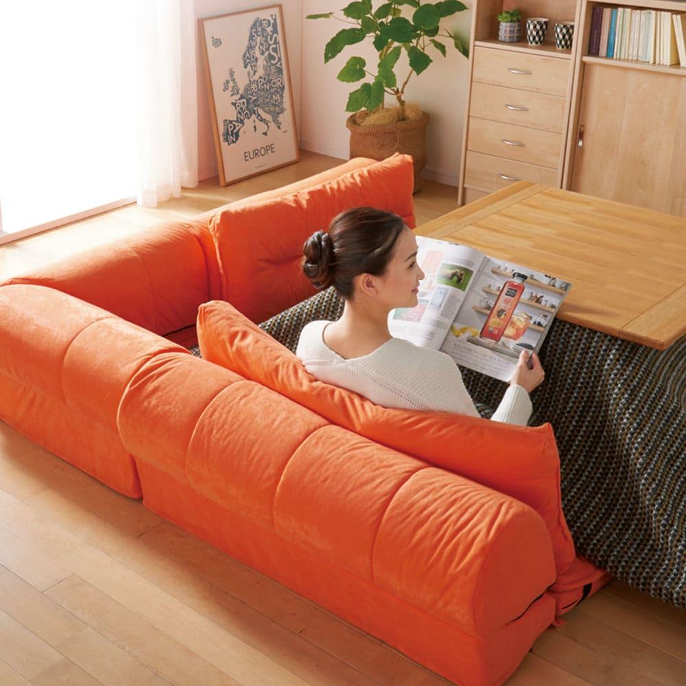 包まれるしあわせのクッション付きごろ寝ソファ 小(142×142cm) 背もたれの高さは35cm。ちょうどよく背中を支えます。