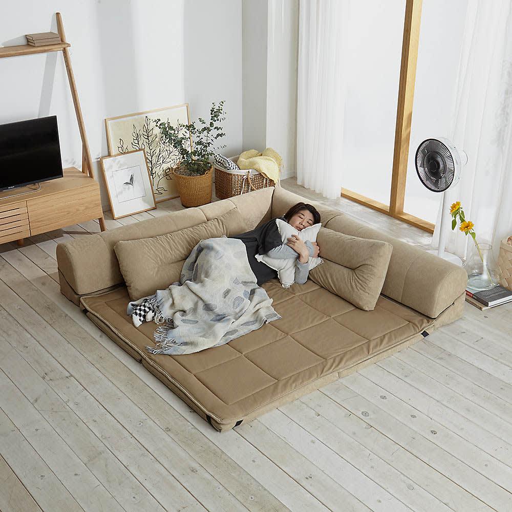 包まれる幸せのごろ寝ソファ 夏用サラサラ替えパッド 大ソファ用 使用イメージ(ア)ナチュラル ※写真は小サイズです。※お届けは替えパッドのみです。