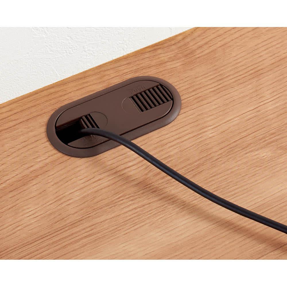 天然木調テレビ台シリーズ ロータイプテレビ台 幅120.5高さ40.5cm 天板奥の配線用カットから背面にコードを通せます。