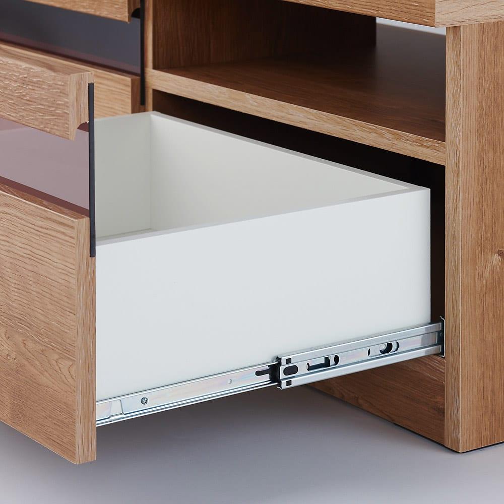 天然木調テレビ台ハイバックシリーズ テレビ台・幅100.5奥行45cm 引き出しにはスライドレールを使用しており開閉がスムーズです