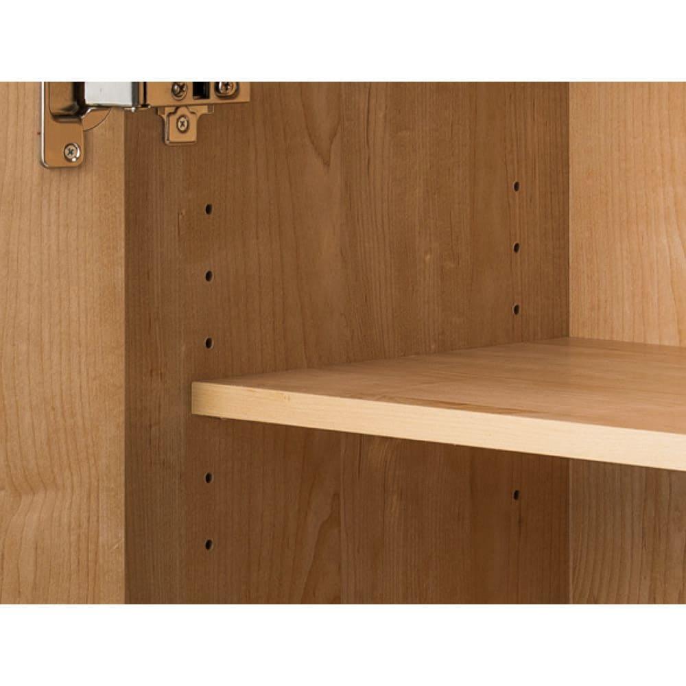 天然木調テレビ台ハイバックシリーズ 扉キャビネット・幅60.5奥行34.5cm 可動棚板は3cmピッチで高さ調節が可能。