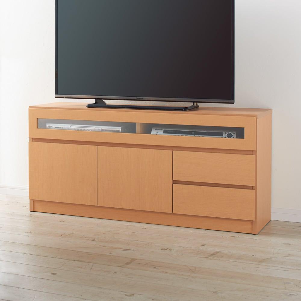 【完成品・国産家具】ベッドルームで大画面シアターシリーズ テレビ台 幅120高さ55cm コーディネート例(イ)ナチュラル