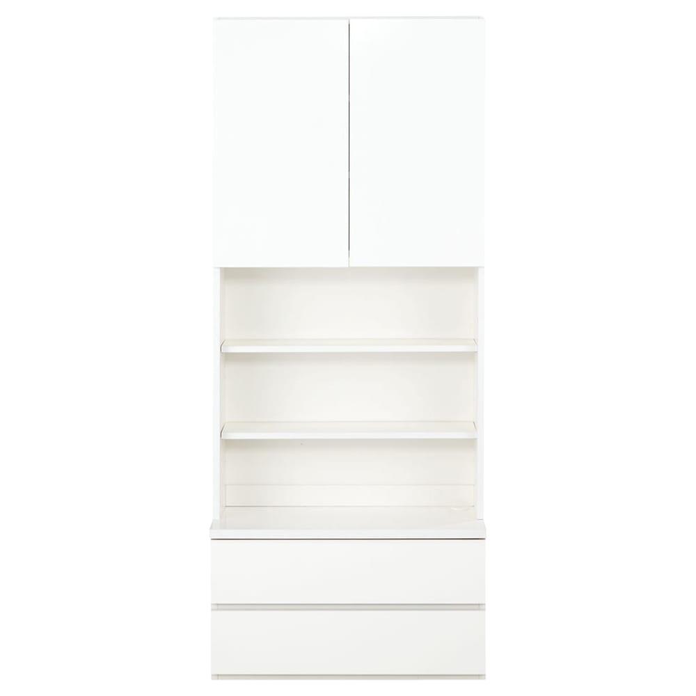 コーナーテレビ台壁面収納シリーズ キャビネット幅75cm オープン&引き出し 正面から(ア)ホワイト