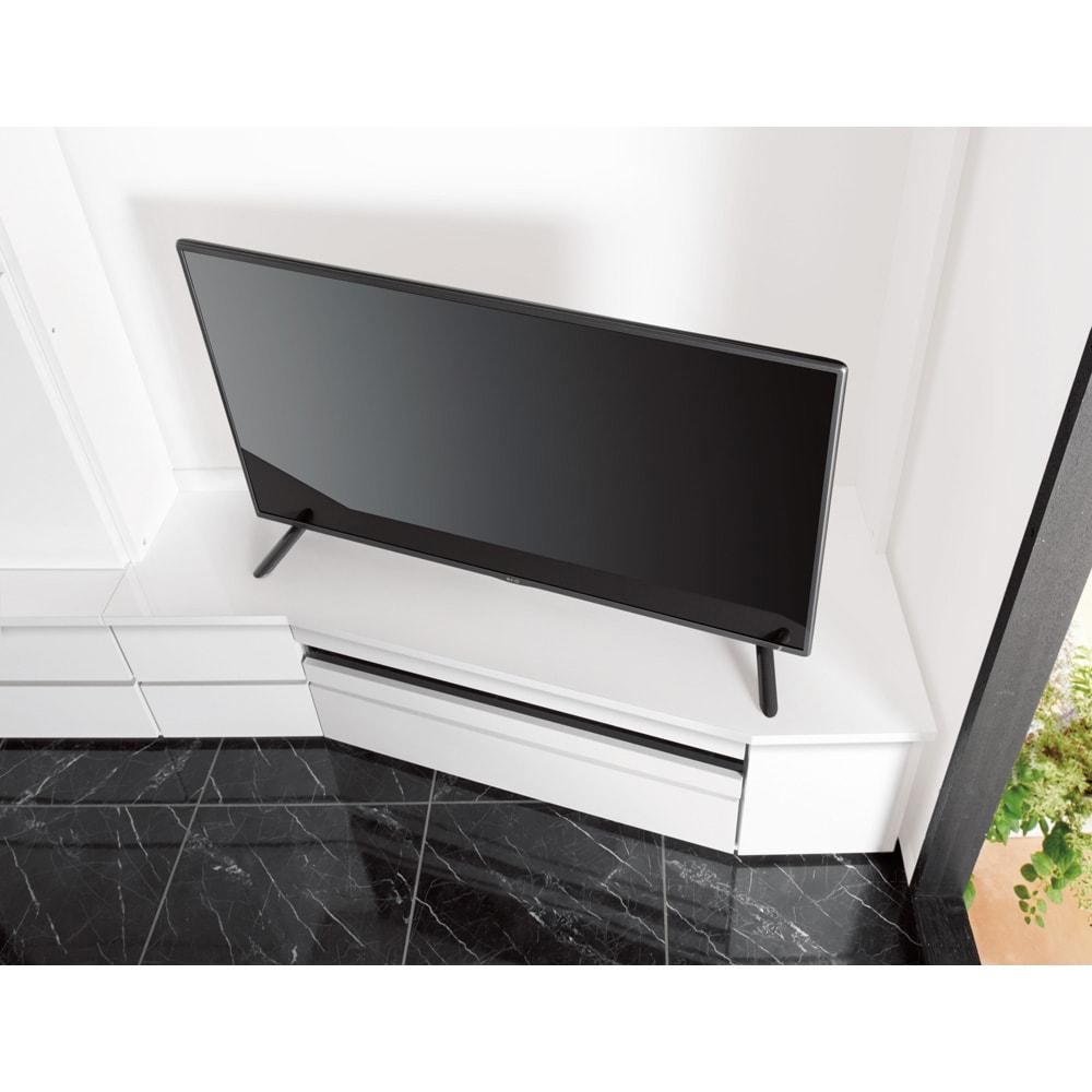 コーナーテレビ台壁面収納シリーズ 幅117cm TV台右壁設置用 テレビが見やすいコーナー専用