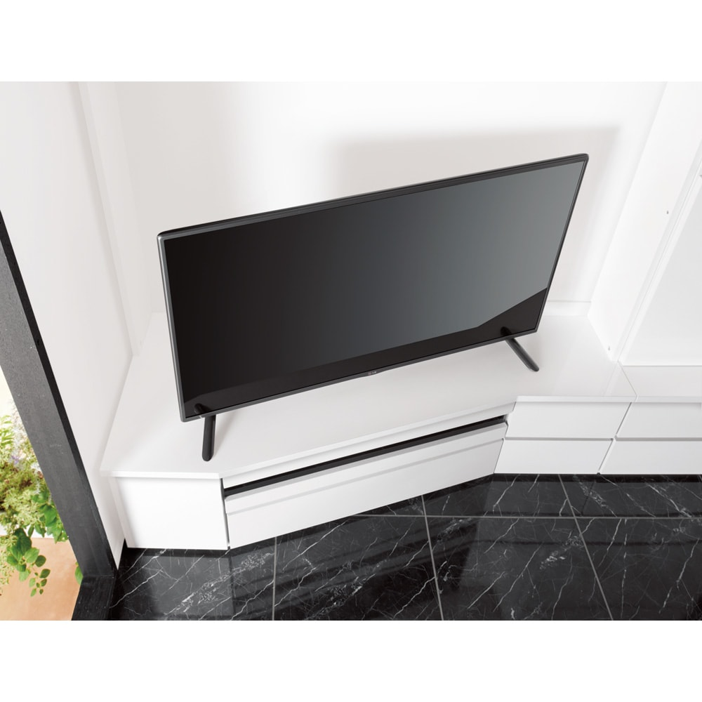 コーナーテレビ台壁面収納シリーズ 幅117cm TV台左壁設置用 テレビが見やすいコーナー専用