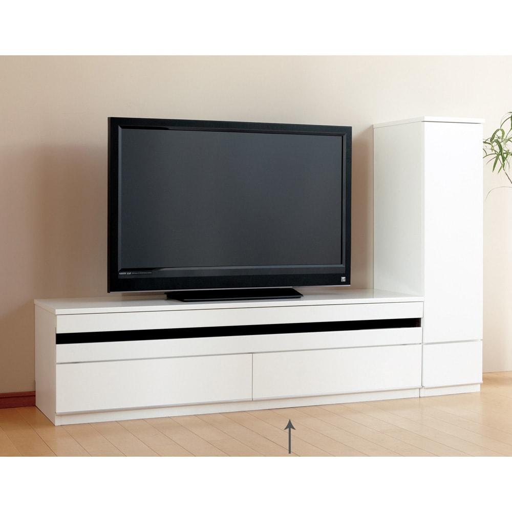 ラインスタイルシリーズ テレビ台 幅150cm フラップ扉は閉じたままリモコン操作可能です。