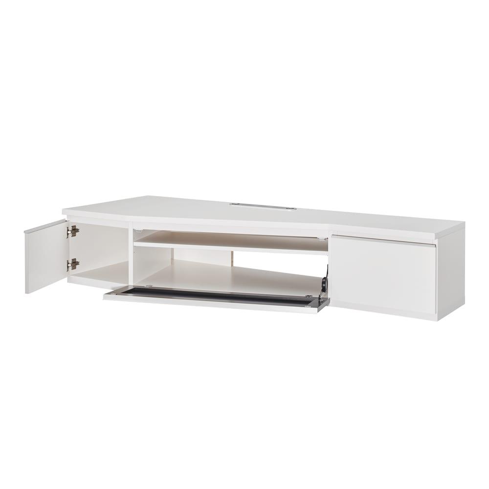 住宅事情を考えたコーナーテレビボード 幅165cm・左コーナー用(左側壁用) (ア)ホワイト