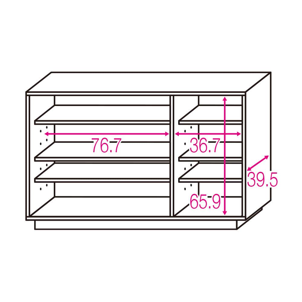 オーク材アールデザインリビングシリーズ テレビ台ハイ 幅120cm ※赤文字は内寸(単位:cm) 可動棚板6枚。左収納棚板サイズ:幅76.7×奥行32 右収納棚板サイズ:幅36.7×奥行32