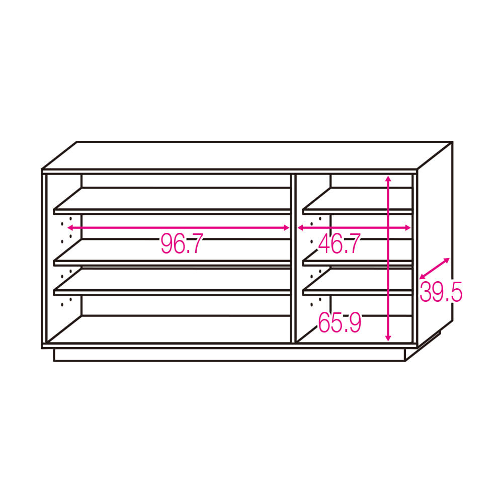 オーク材アールデザインリビングシリーズ テレビ台ハイ 幅150cm ※赤文字は内寸(単位:cm) 可動棚板6枚。左収納棚板サイズ:幅96.7×奥行32 右収納棚板サイズ:幅46.7×奥行32